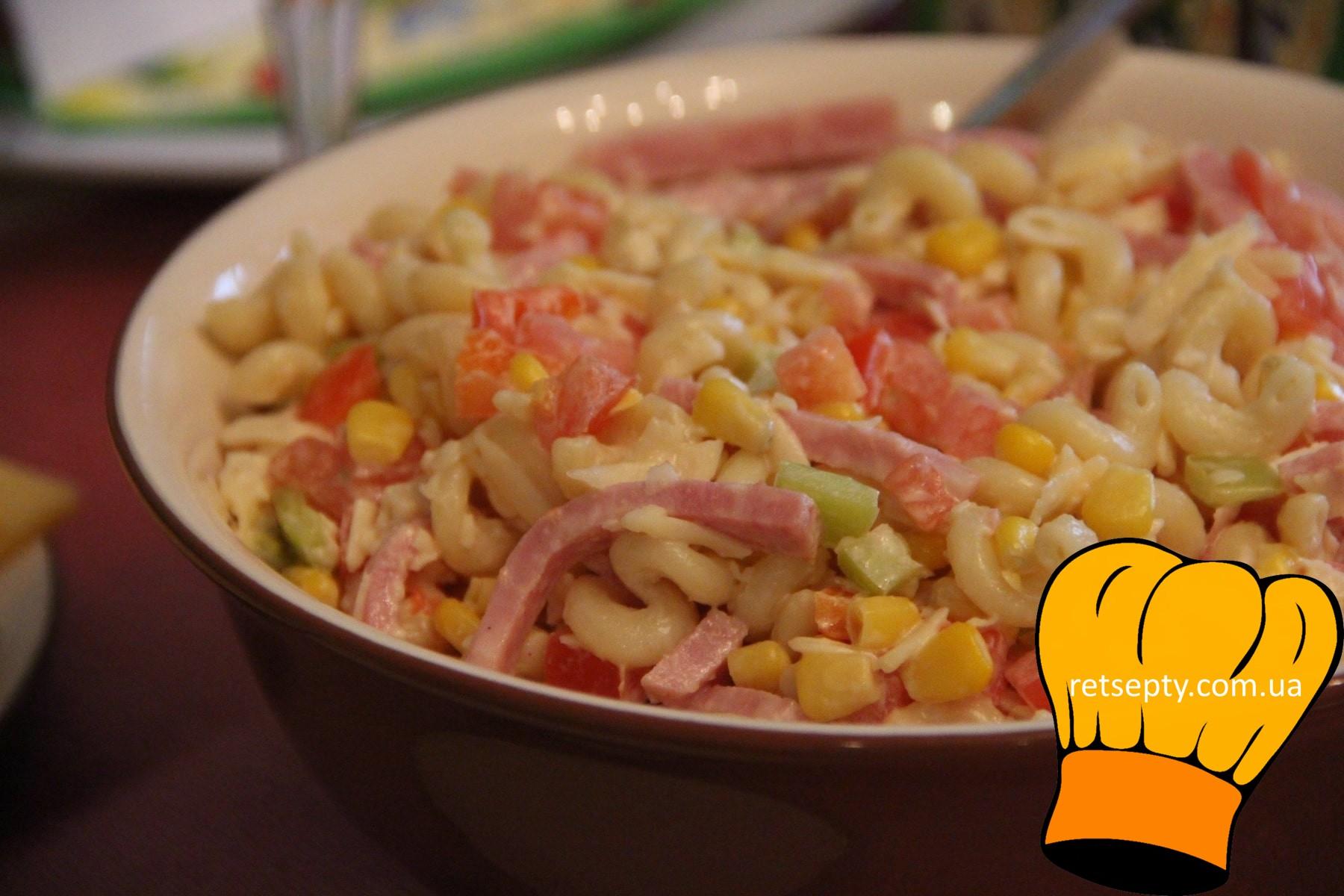 Італійський салат з шинкою, сиром і овочами